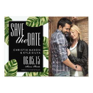 Tropical Palm Tree Beach Wedding Save the Date Card