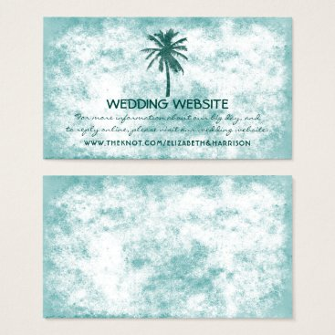 Beach Themed Tropical Palm Tree Beach Wedding Website Business Card