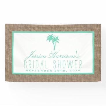 Beach Themed Tropical Palm Tree Burlap Beach Bridal Shower Banner
