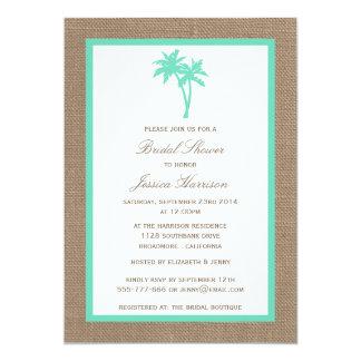 Tropical Palm Tree Burlap Beach Bridal Shower Card