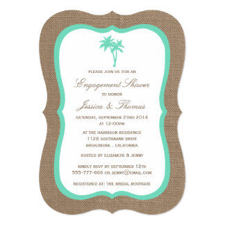 Tropical Palm Tree Burlap Beach Engagement Shower Card
