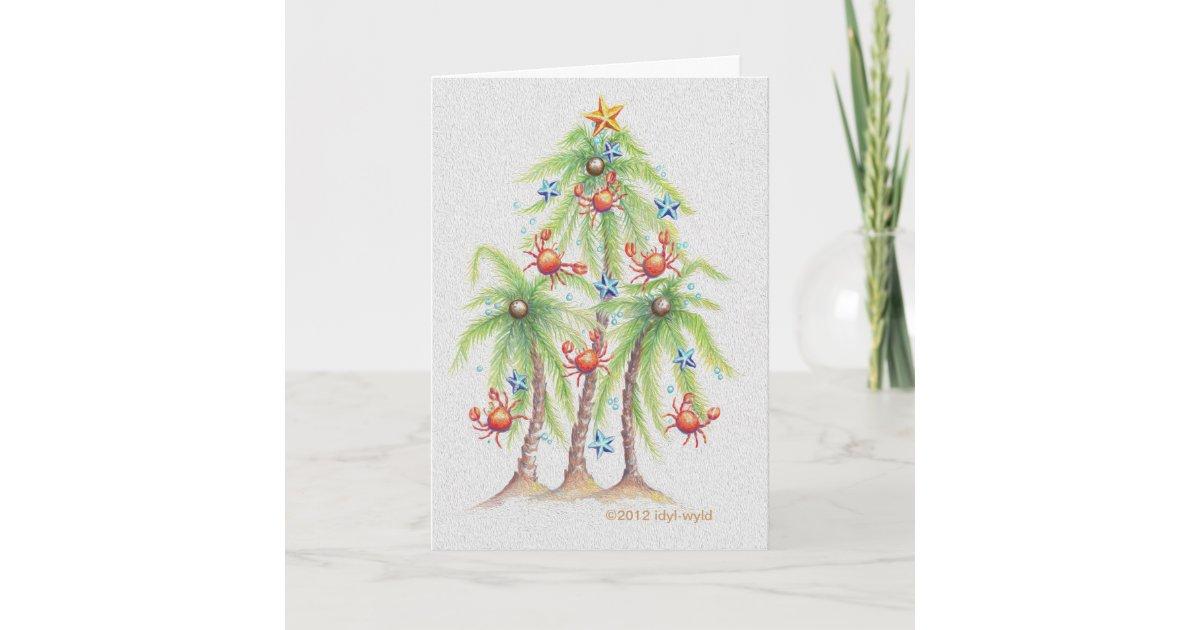 Tropical palm tree Christmas card   Zazzle.com