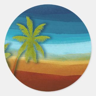 Tropical Palm Tree Classic Round Sticker