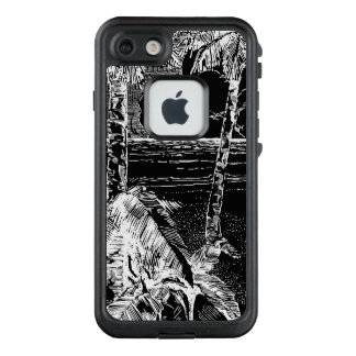 Tropical palm tree etching iPhone Case