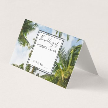 Tropical Palm Tree Florida Beach Wedding Table Place Card