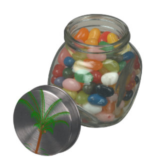 Tropical Palm Tree Glass Candy Jar