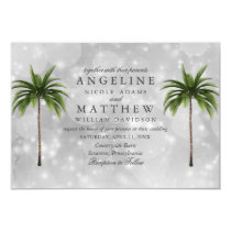 Tropical Palm Tree Green Lights Wedding Card