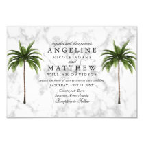 Tropical Palm Tree Green Marble Wedding Card