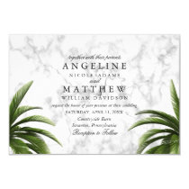 Tropical Palm Tree Green on marble Wedding Card