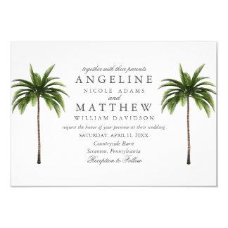 Tropical Palm Tree Green Wedding Card