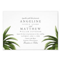 Tropical Palm Tree Green Wedding Card