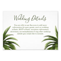Tropical Palm Tree Green Wedding Details Invitation