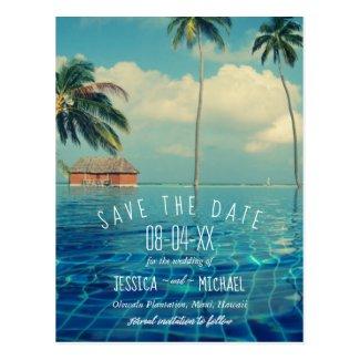 Tropical Palm Tree Hawaii Island Save the Dates Postcard