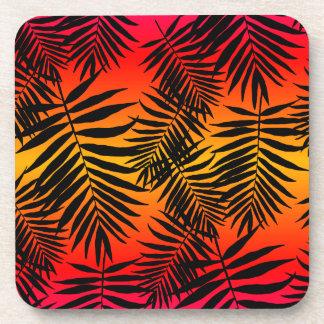 Tropical Palm Tree Leaf Shadow On Sunset Coaster