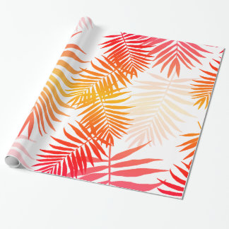 Tropical Palm Tree Leaf Summer Sunset Wrapping Paper