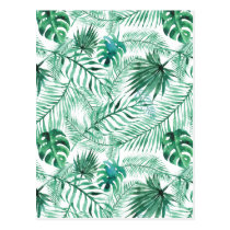Tropical Palm Tree Leaves Pattern Postcard