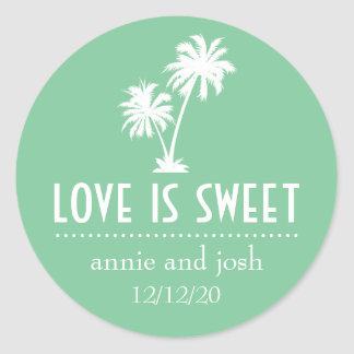 Tropical Palm Tree Love Is Sweet Label (Mint) Round Stickers