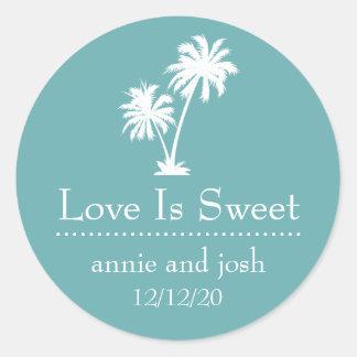 Tropical Palm Tree Love Is Sweet Label (Sea Foam)