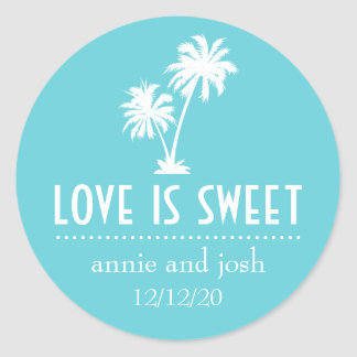 Tropical Palm Tree Love Is Sweet Label (Turquoise) Classic Round Sticker