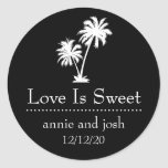Tropical Palm Tree Love Is Sweet Labels (Black) Round Stickers