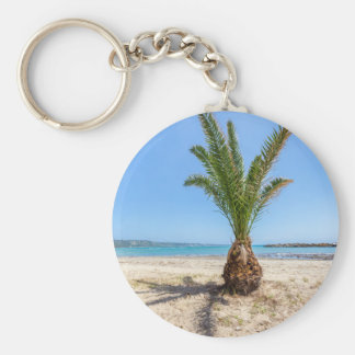 Tropical palm tree on sandy beach keychain