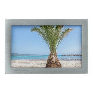 Tropical palm tree on sandy beach rectangular belt buckle