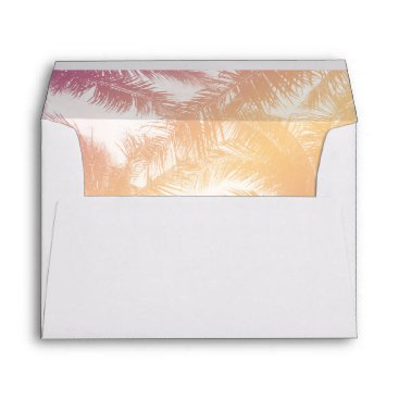 Beach Themed Tropical Palm Tree & Orange Wedding Return Address Envelope