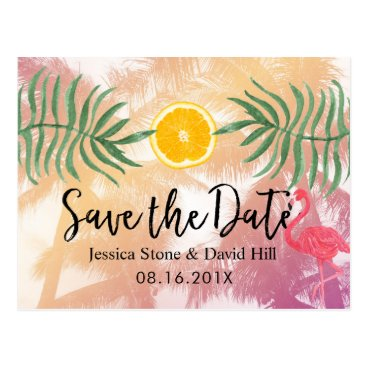 Beach Themed Tropical Palm Tree & Orange Wedding Save the Date Postcard