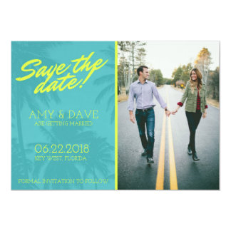 Tropical Palm Tree Photo Wedding Save the Date Card