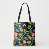 Tropical Palm Tree Pineapple Pattern Monogram Tote Bag