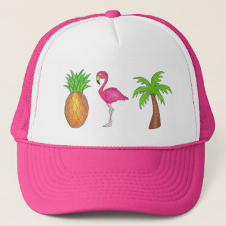 Tropical Palm Tree Pineapple Pink Flamingo Bird Trucker Hat