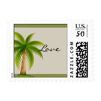Tropical Palm Tree Postage Stamp