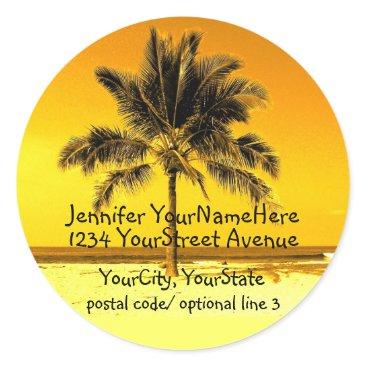 Beach Themed Tropical Palm Tree return address labels