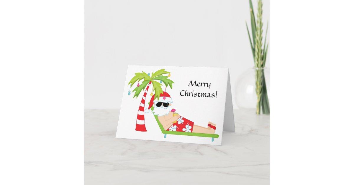 Tropical/Palm Tree Santa Claus Christmas Card   Zazzle.com