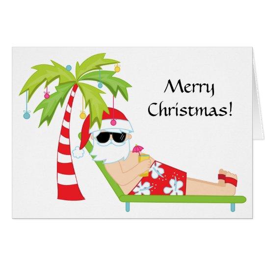 Tropical/Palm Tree Santa Claus Christmas Card