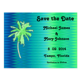 Tropical Palm Tree Save the Date Postcard