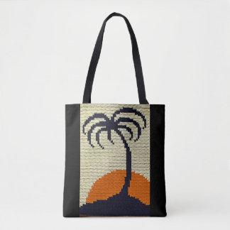 Tropical Palm Tree Silhouette Sunrise Crochet Tote Bag
