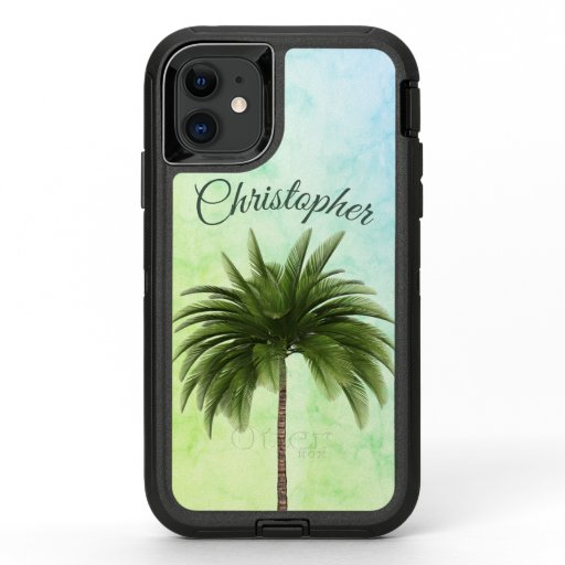 Tropical Palm Tree Stylish Green Marbled OtterBox Defender iPhone 11 Case