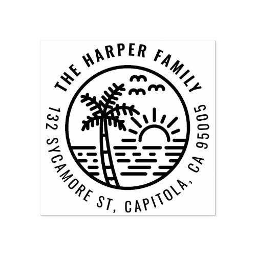 Tropical Palm Tree Sunset Family Return Address Rubber Stamp