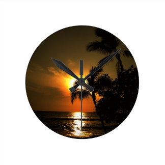 Tropical Palm Tree Sunset Round Clock