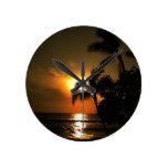 Tropical Palm Tree Sunset Round Wallclock