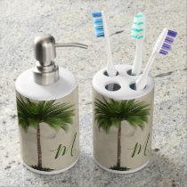 Tropical  Palm Tree Vintage Elegant Monogram Bath Set