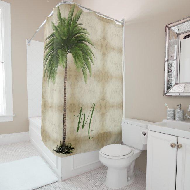 Tropical  Palm Tree Vintage Elegant Shower Curtain