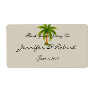 Tropical Palm Tree Water Bottle Label Shipping Label
