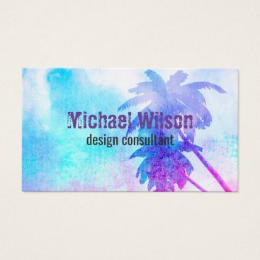 Professional Business tropical palm tree watercolor business cards