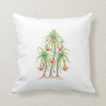 Tropical palm tree with crab ornaments pillow