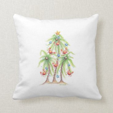 Christmas Themed Tropical palm tree with crab ornaments pillow