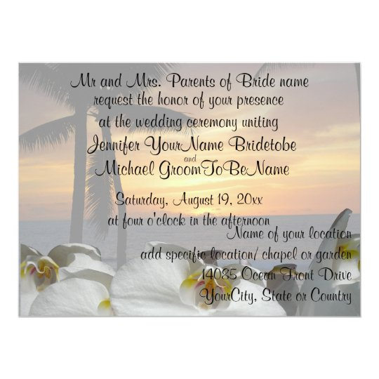 Tropical Palm Tree with orchids Card
