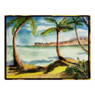 Tropical Palm Trees and Beach Drawing Poster