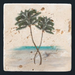 """Tropical Palm Trees and Ocean Beach Stone Coaster<br><div class=""""desc"""">Tropical palm trees image on a porous stone coaster.  Turquoise ocean water and two tall,  intertwined palms is the scene which can be put on any of the coaster surfaces offered.</div>"""